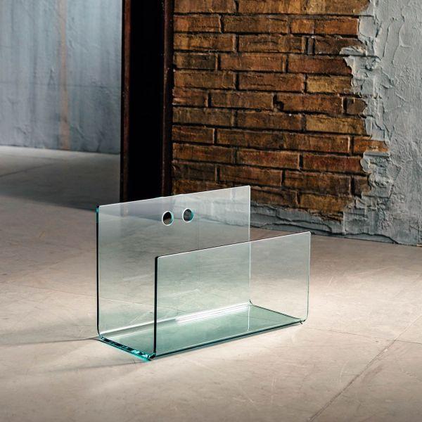 Portariviste in vetro curvato trasparente Sven