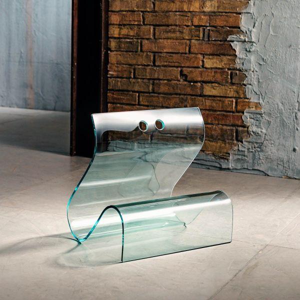Portariviste in vetro curvato temperato 45 x 35 cm Rebecca