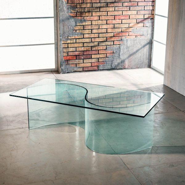 Tavolino da salotto in vetro curvato trasparente Davio