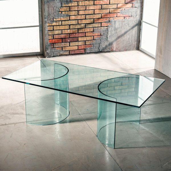 Tavolino da salotto in vetro curvato trasparente temperato Diorik