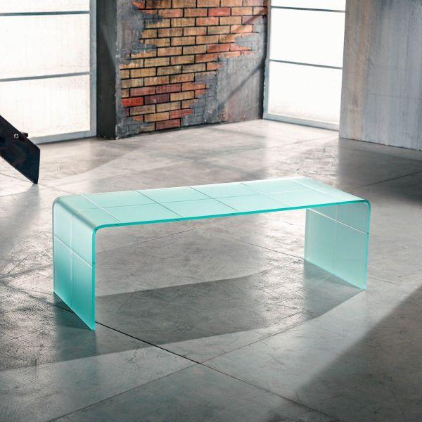 Tavolino da salotto in vetro curvato satinato Edilon