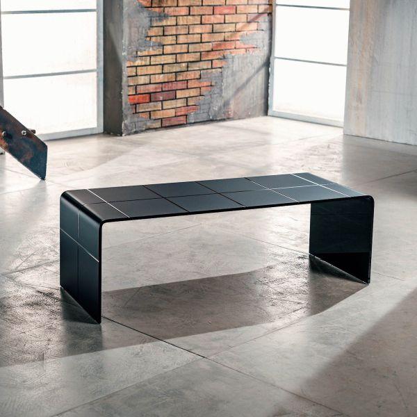 Tavolino basso da salotto in vetro curvato nero Eberg