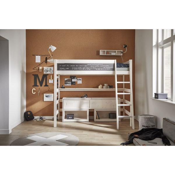 Dettagli su Letto a soppalco per BAMBINI con scrivania salvaspazio HIGH  RISE in legno