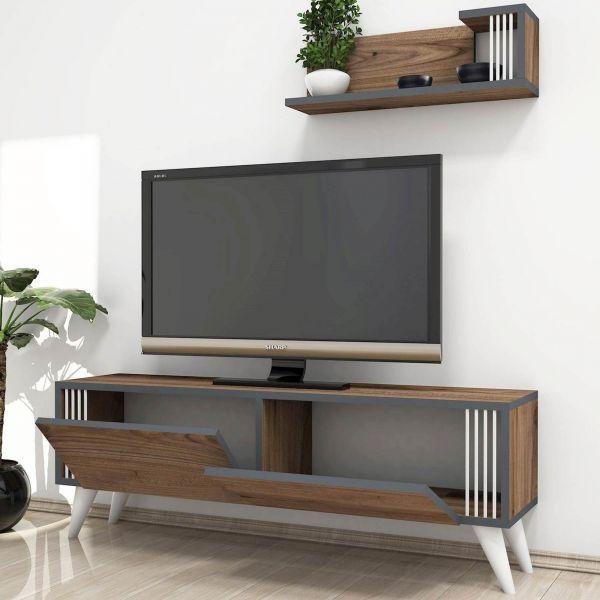 Porta Tv Da Parete Con Mensola.Dettagli Su Mobile Da Terra Lucas Porta Tv Con Mensole Da Parete E Scaffali Ad Anta