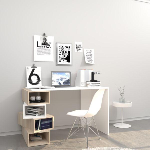 Dettagli su DONNY scrivania moderna con libreria incorporata per CAMERETTA ragazzi