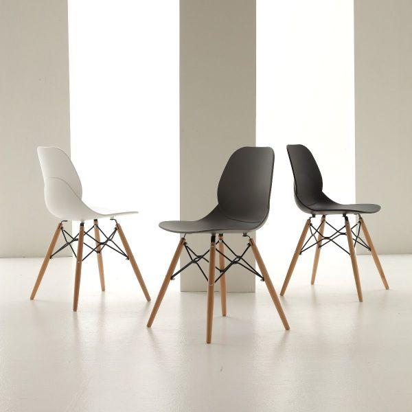 Sedia design moderno in faggio massello e polipropilene Elenora