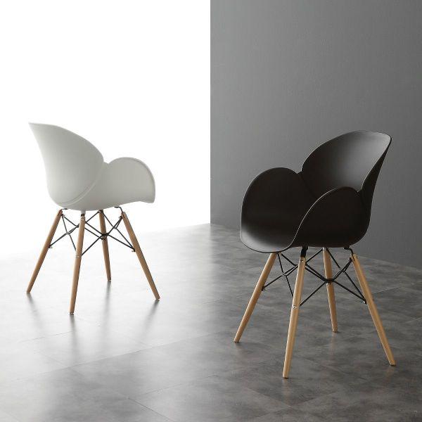 Sedia design in polipropilene bianca o nera Evette Wood