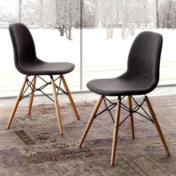 Sedia imbottita con tessuto colore antracite e gambe in legno massello Florrie Dress