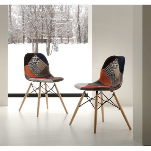 Sedia patchwork design originale con gambe in legno massello Florrie Patch