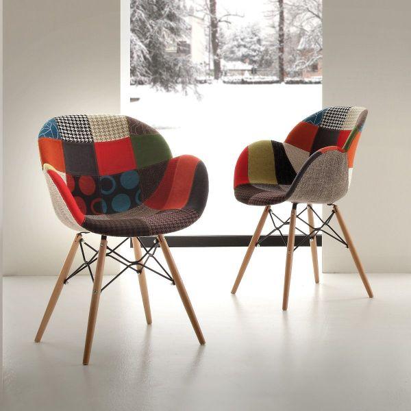 Sedia patchwork multicolore moderna con gambe in legno massello Evette Patch