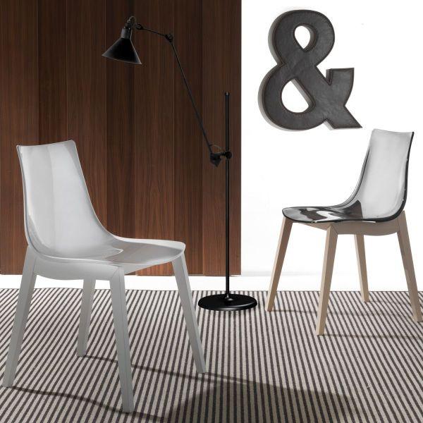 Sedia con gambe in legno di faggio e seduta in acrilico Priscilla Wood