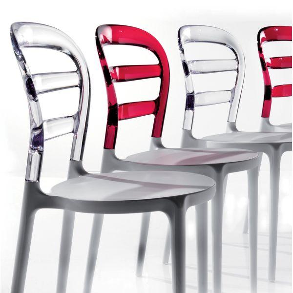 Dettagli su Sedia JODENE in plastica bianca rossa per SALA PRANZO DESIGN MODERNO