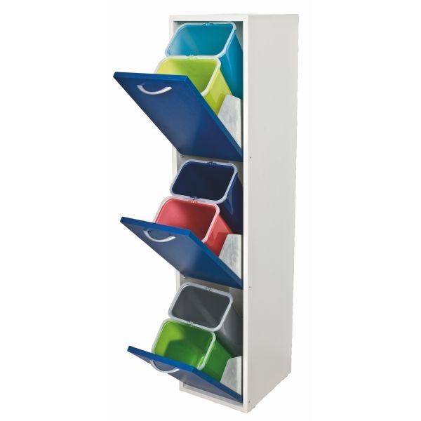 Mobile raccolta differenziata legno a 3 cassetti verticale Curtis