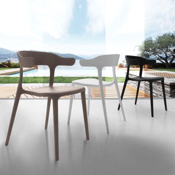 Sedia in polipropilene per sala da pranzo made in italy moderna Canuta