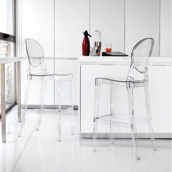 Sgabello trasparente da cucina con schienale in policarbonato Yannou