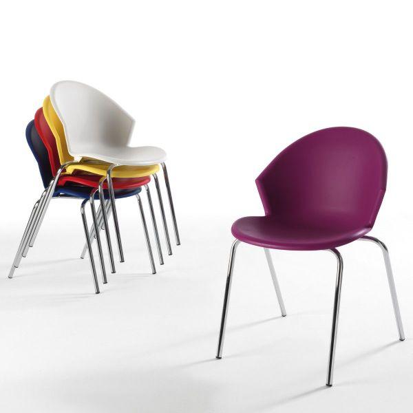 Sedia per ufficio in metallo cromato e plastica Sauvina