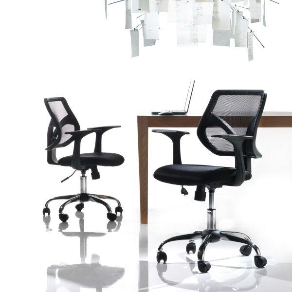 Sedia da ufficio nera con schienale curvo design sinergina for Design da ufficio