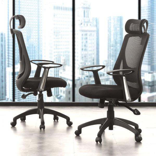 Sedia ufficio nera girevole moderna design Aresta