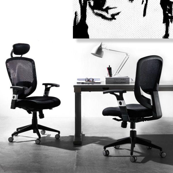 Sedia ufficio con schienale comodo e ruote gommate Aligia