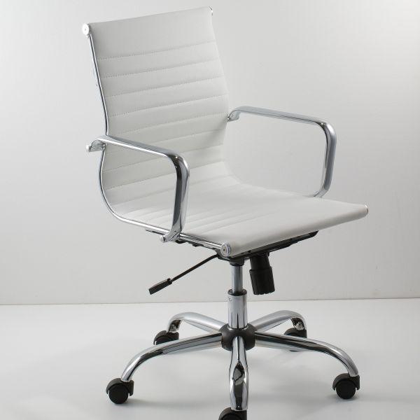 Sedia per ufficio in ecopellle nera e bianca sedile comodo Nedija
