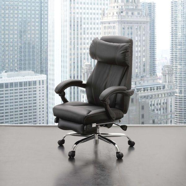 Poltrona ufficio reclinabile comoda ecopelle nera Riside