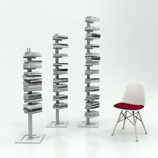 Libreria a colonna da terra autoportante in alluminio Ambrogio