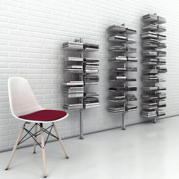 Libreria totem in metallo verticale da parete Dotto