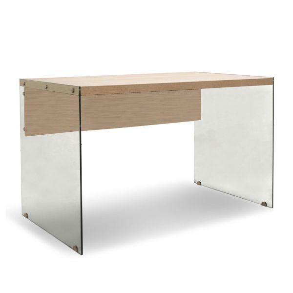 Scrivania da ufficio design moderna in vetro e legno Kimmy