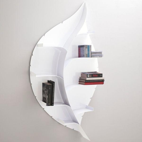 Libreria da parete Blatt in metallo bianco OUTLET