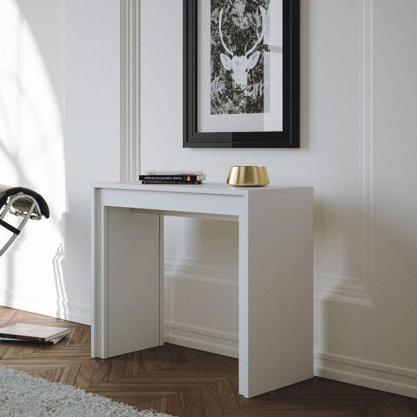 Tavolo consolle allungabile design moderno bianco opaco o lucido Barnaby