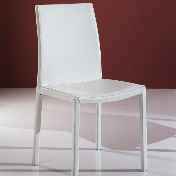 Sedia moderna impilabile in pelle bianca o tortora Vona