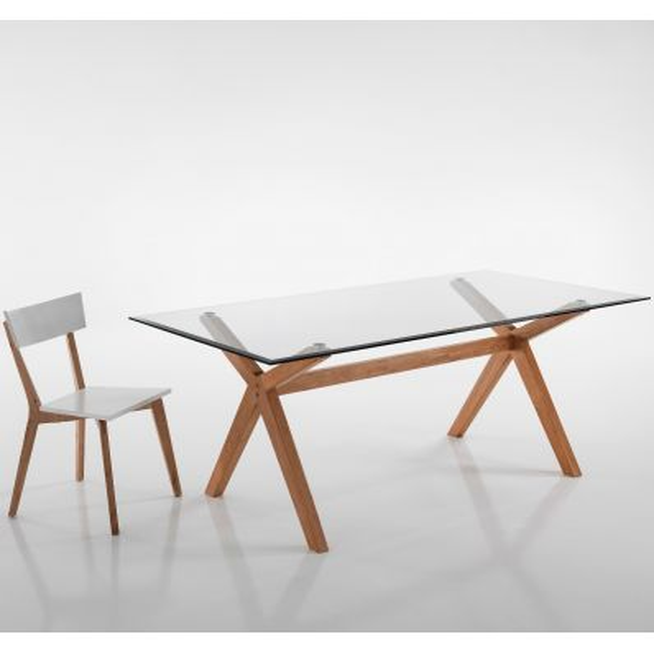 Scrivania ufficio in legno massello chiaro e vetro moderna Heta