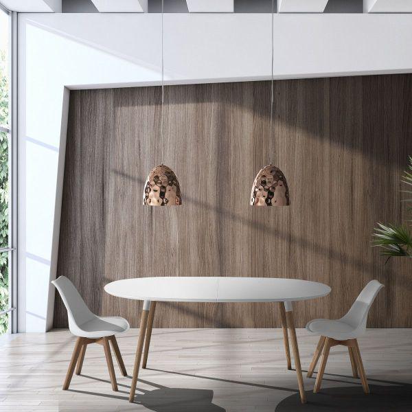 Tavolo allungabile legno mdf bianco e massello rovere Angoon