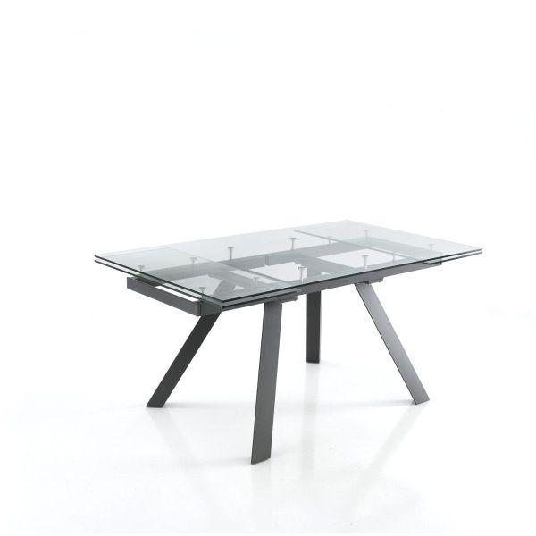Tavolo allungabile in vetro e metallo design moderno Jalore