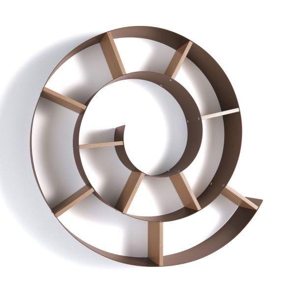 Mensola da parete chiocciola moderna metallo e legno Honavar