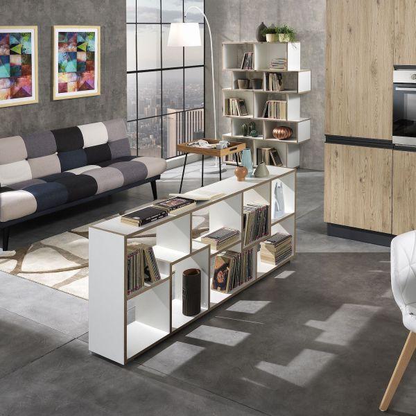 Libreria design moderno in legno bianco e rovere per casa o ufficio Olyak