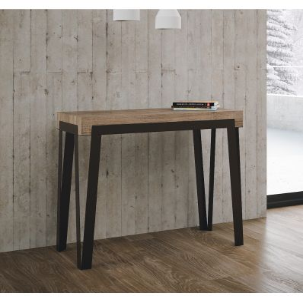 Consolle allungabile in metallo e legno naturale 300cm Russell