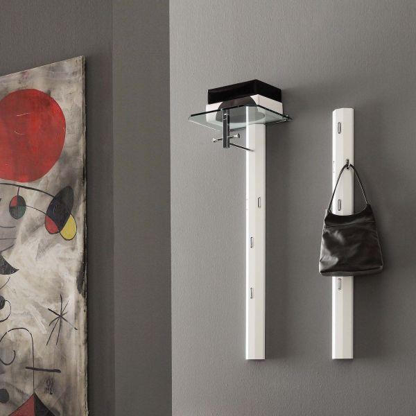 Appendiabiti da parete verticale in metallo bianco con mensola in vetro Marlon