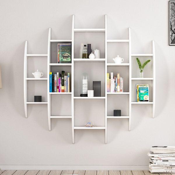 Libreria sferica da parete in legno bianco 140 x 140 cm Sferik