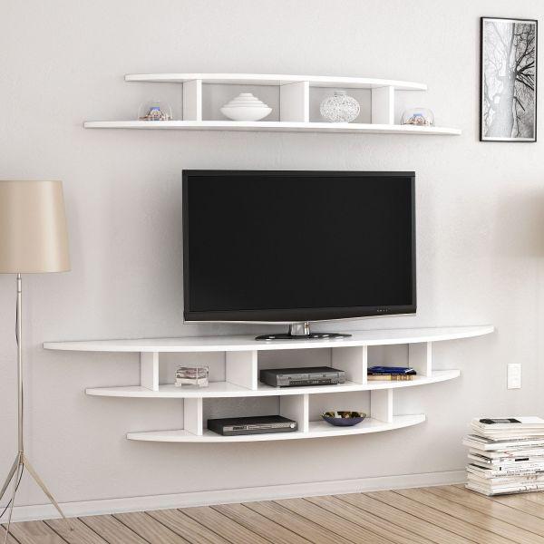 Libreria sferica porta TV da parete bianca Eklips