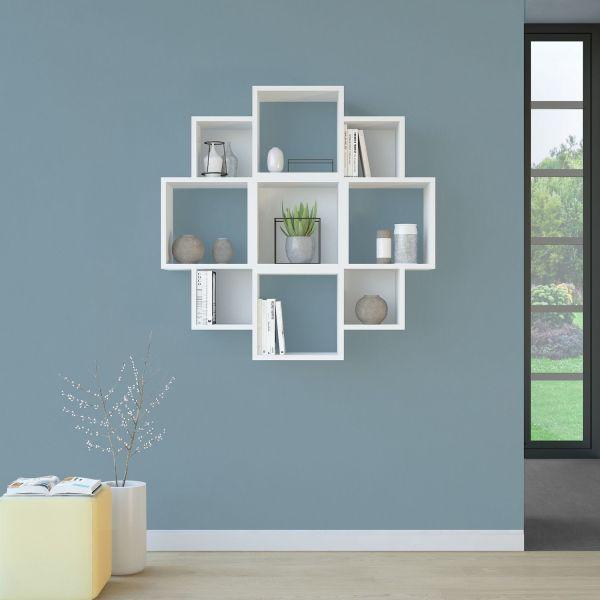 Libreria design da parete in legno bianco o naturale Margaret