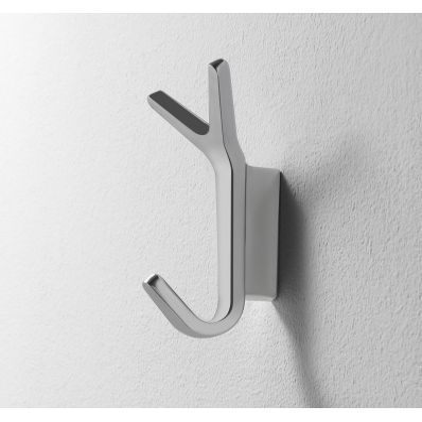 Set 4 ganci appendiabito da parete in alluminio lucido Battista