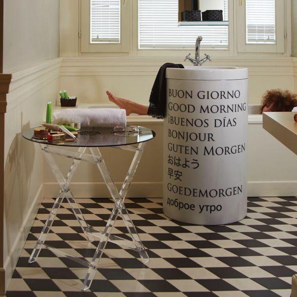 Tavolino vassoio pieghevole salvaspazio in plexiglass Cavalletto