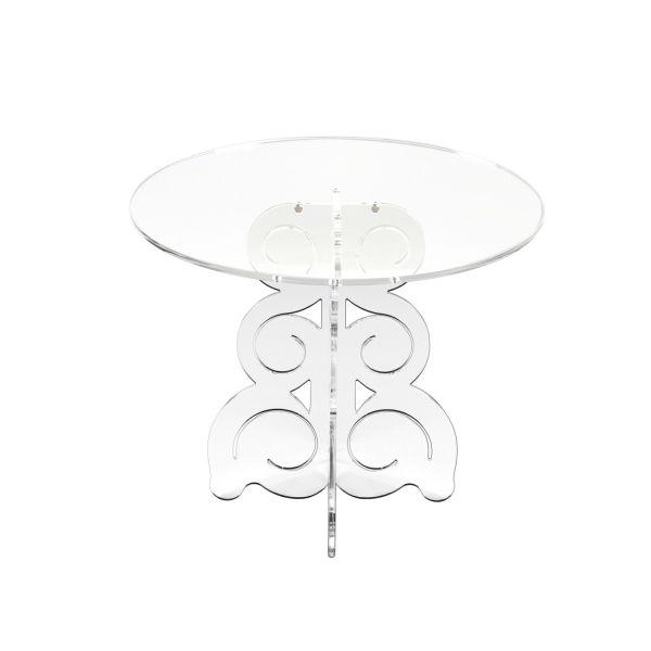 Tavolino salotto moderno in plexiglass trasparente fumè satinato Baricco