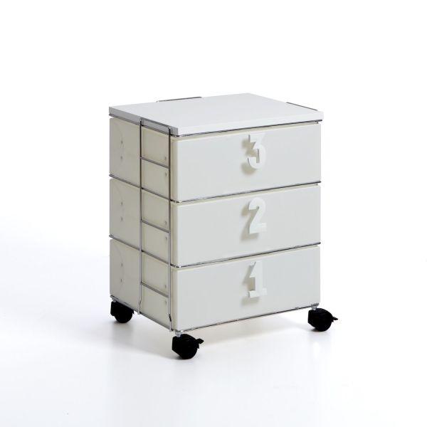 Cassettiera ufficio bianca con ruote 3 o 6 cassetti Contessa
