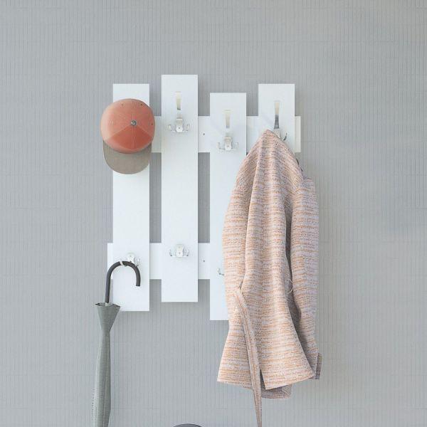 Appendiabiti da parete in legno bianco o naturale Boards