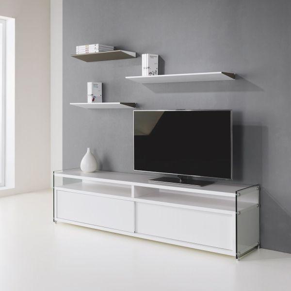 Mobile porta TV in legno e vetro Media per televisori di grandi dimensioni