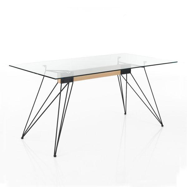 Scrivania ufficio in metallo e vetro 160 x 85 cm Vanish