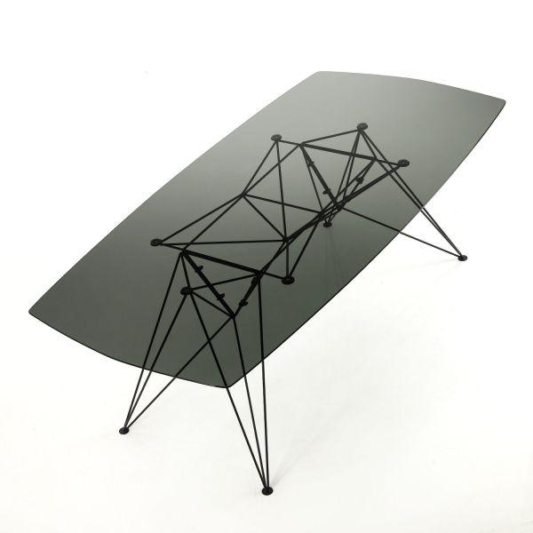 Scrivania ufficio moderna in metallo e vetro nero 180 x 90 cm Konrad Dark
