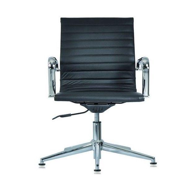 Sedia ufficio fissa regolabile con schienale alto in ecopelle bianca o nera WH